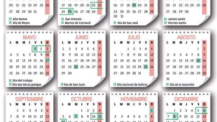 El calendario marca cuatro puentes, en abril, mayo, octubre y diciembre