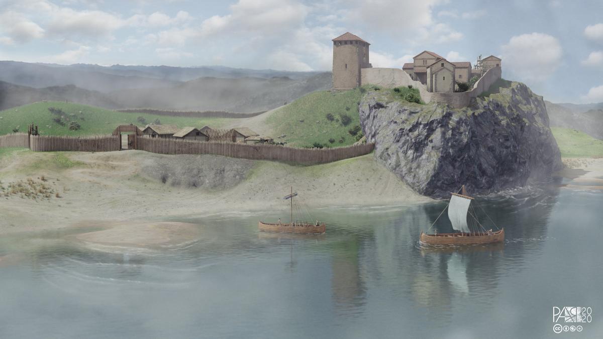 Recreación virtual del castillo de Gauzón