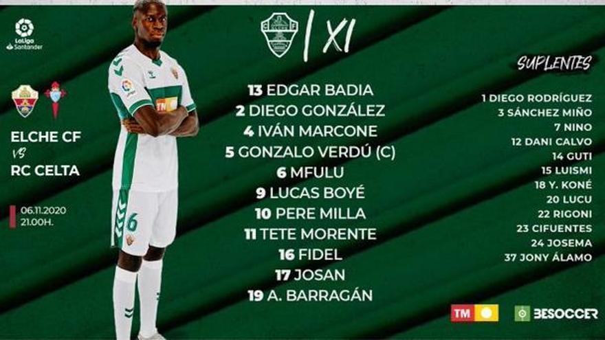 Diego González, Morente y Mfulu, titulares en el Elche frente al Celta