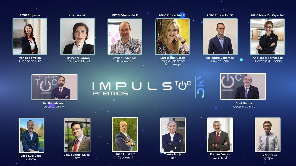 Los galardonados de la X edición de Premios Impulso TIC junto a los organizadores y patrocinadores.