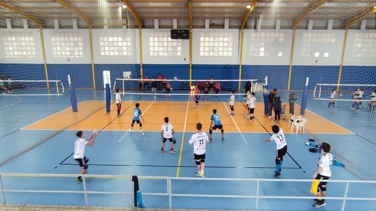 Un grupo de jugadores de voleibol disputan un partido en el pabellón Pablo Herrera a puerta cerrada.