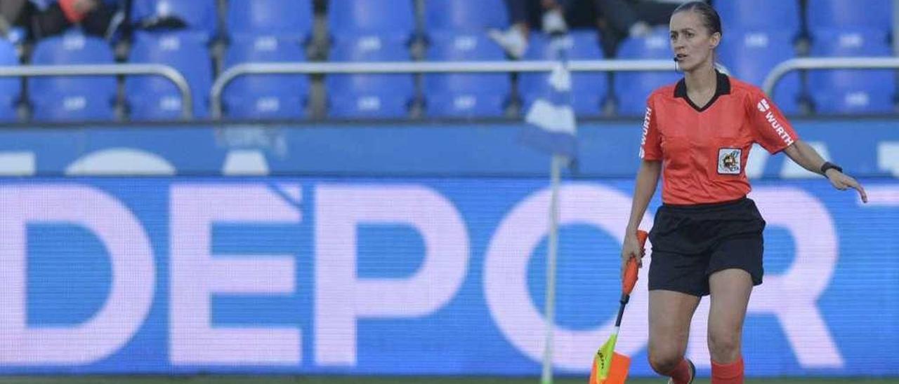 Guadalupe Porras, en el Deportivo-Málaga de esta temporada, disputado en el estadio de Riazor.