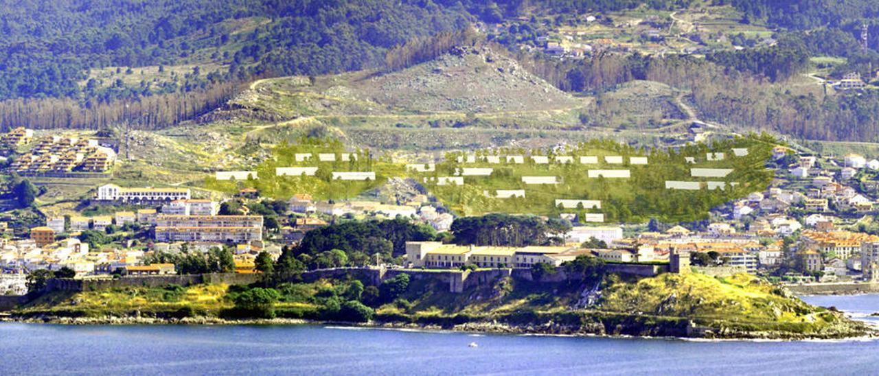 Recreación de la fachada marítima de Baiona con la futura urbanización en la parte alta, tras la península de Monte Boi. // A.S/L.Z.