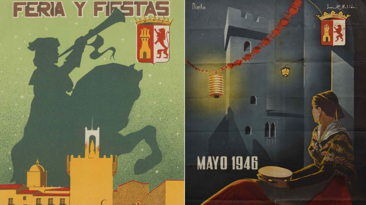 Dos carteles de la Feria de Mayo en Cáceres.