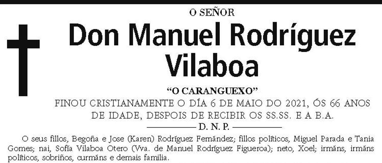 La esquela de Manuel Rodríguez Vilaboa