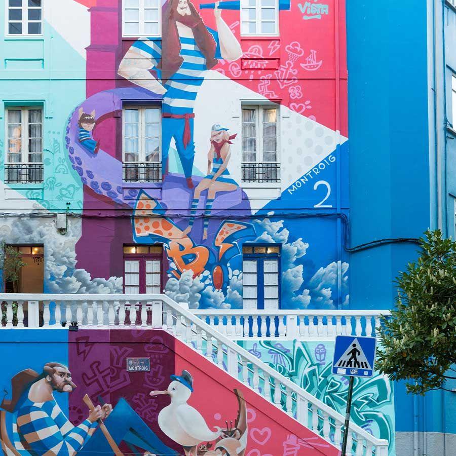 Yoe33-Mural en un edificio de A Coruña