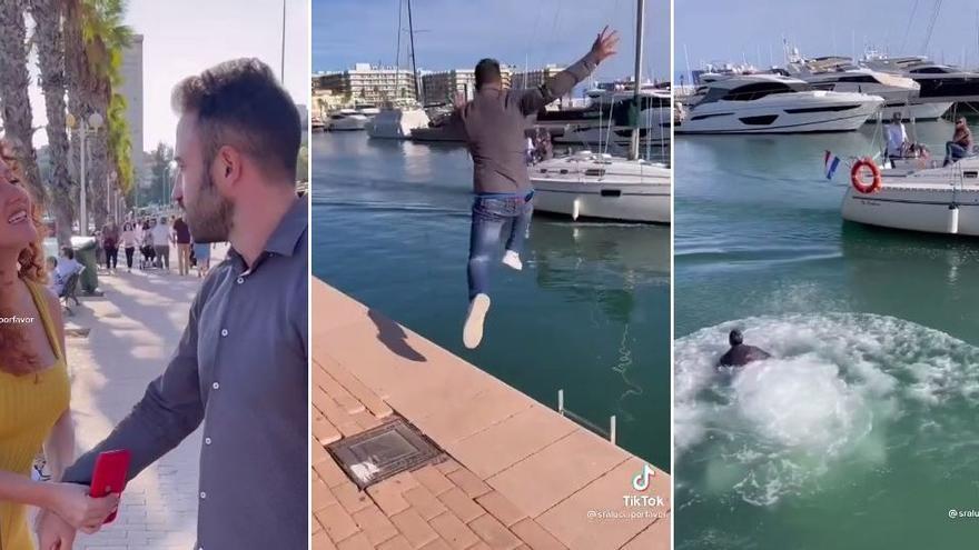 Un tiktoker alicantino se salta la prohibición de bañarse en el Puerto para grabar un vídeo