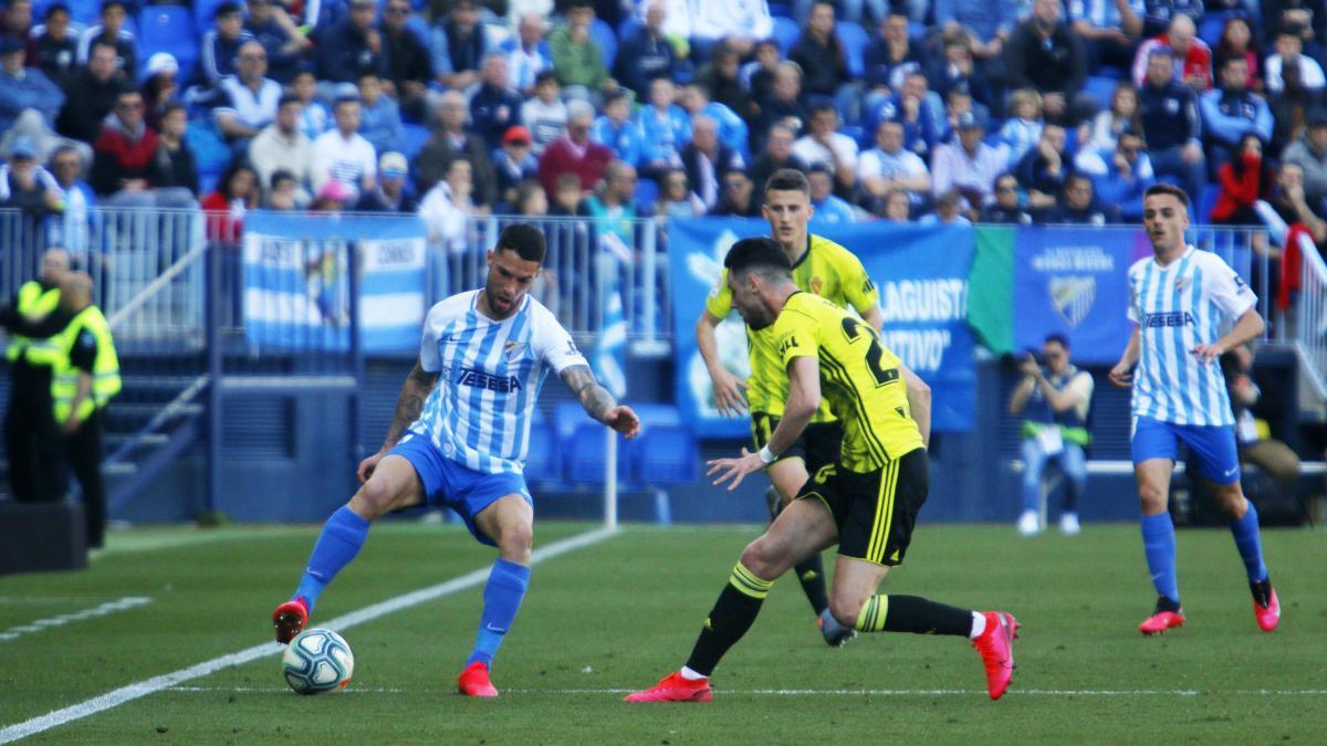 Imagen del último partido disputado en La Rosaleda, el 8 de marzo ante el Zaragoza.