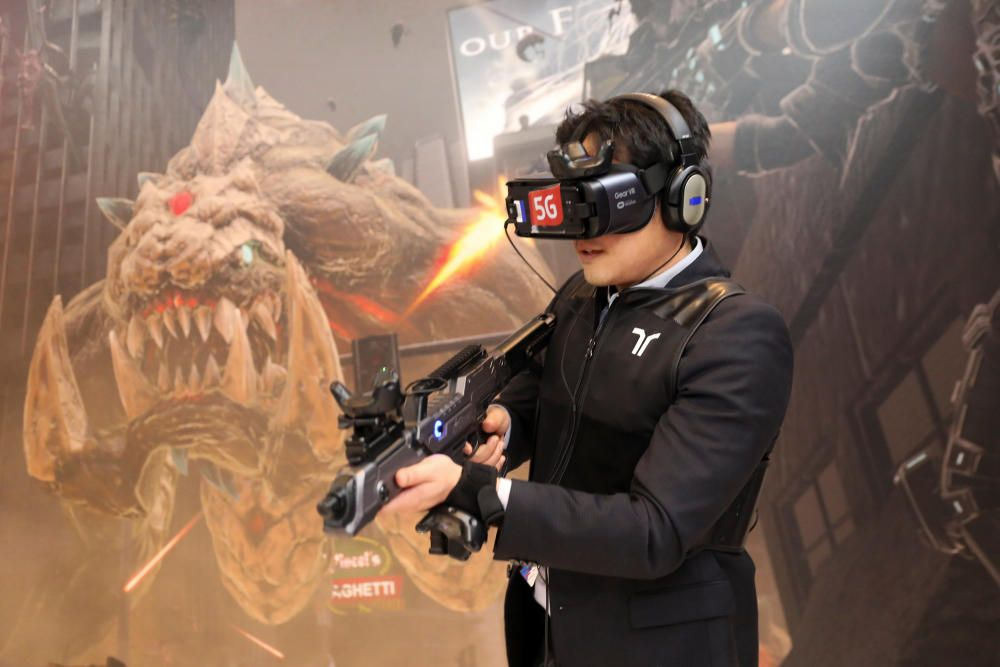 A man plays Special Force VR Universal War ...