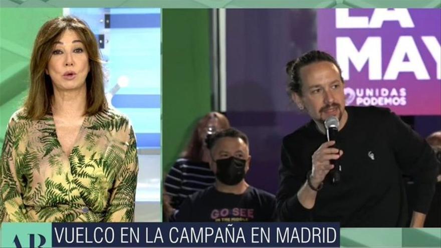 """Ana Rosa responde al ataque de Pablo Iglesias: """"Usted es un fascista, me está señalando y yo no tengo guardaespaldas"""""""