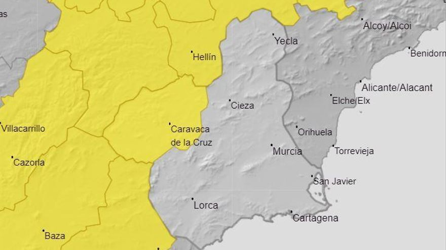 El Noroeste de la Región de Murcia, en alerta amarilla este lunes por viento