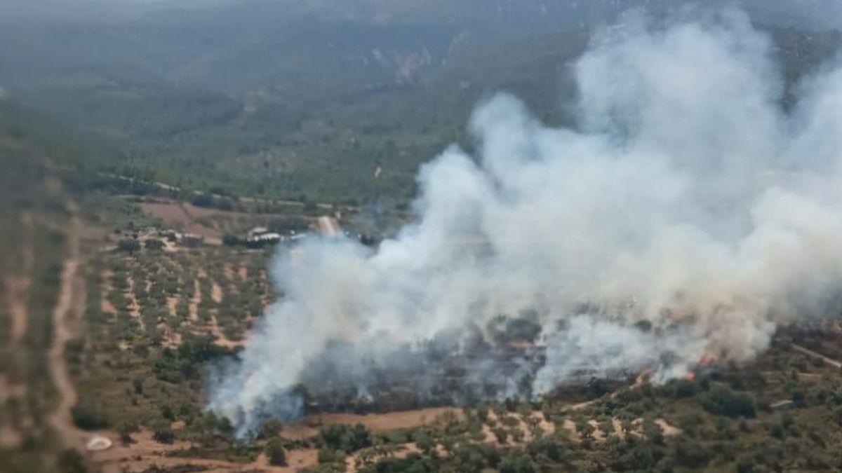 Imagen de los efectivos aéreos, en la intervención contra el incendio en Rossell.