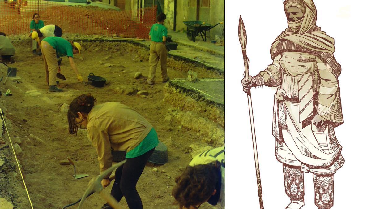 Imagen de excavaciones realizadas en la plaza del Almudín de Segorbe, en 1999, en las que encontraron una tumba, que ahora un estudio revela que perteneció al conocido como 'Gigante de Segorbe'.