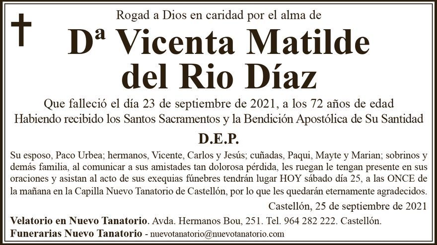 Dª Vicenta Matilde del Rio Díaz