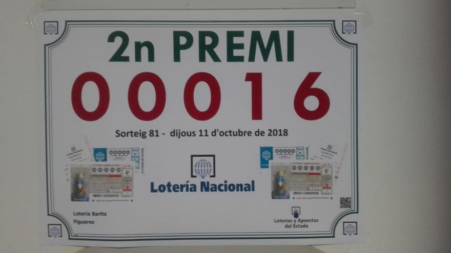 Cau un segon premi de la Loteria Nacional a Figueres pel número 00016