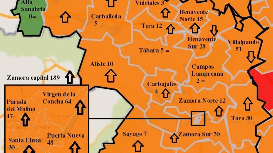 Mapa COVID de Zamora: la capital y Corrales lideran los contagios