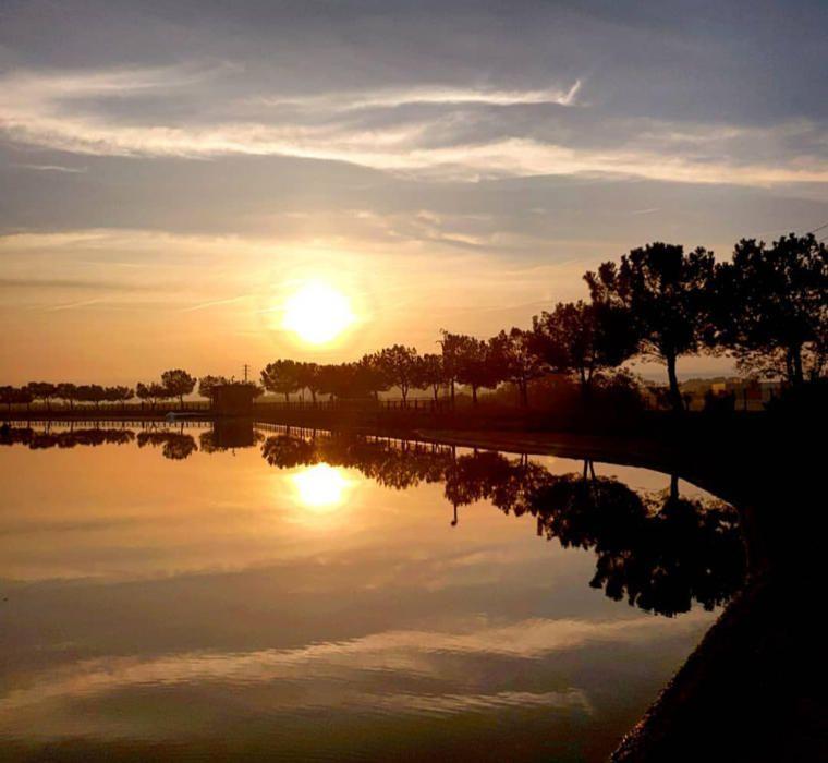 Manresa. El sol ja marxa, ja ens diu fins demà, però abans ens deixa aquesta espectacular imatge, el reflex dels arbres, els núvols i la poca llum a l'aigua del parc de l'Agulla.
