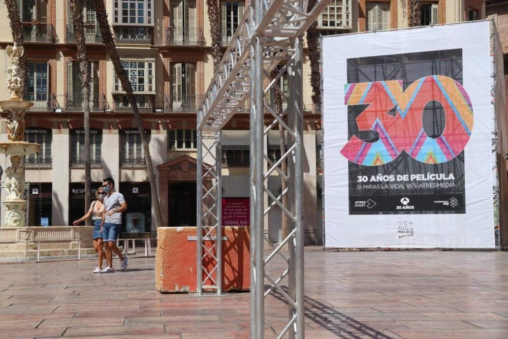 Preparativos del Festival de Málaga.