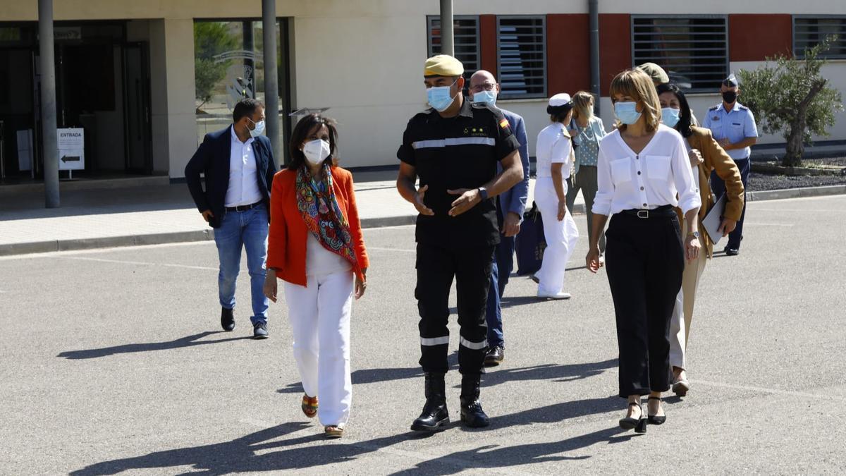 Margarita Robles, Manuel Montero y Pilar Alegría, este lunes