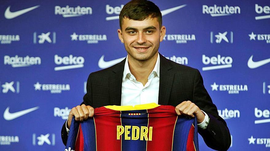 Presentació Pedri: «L'opció és quedar-me i aprendre dels millors»