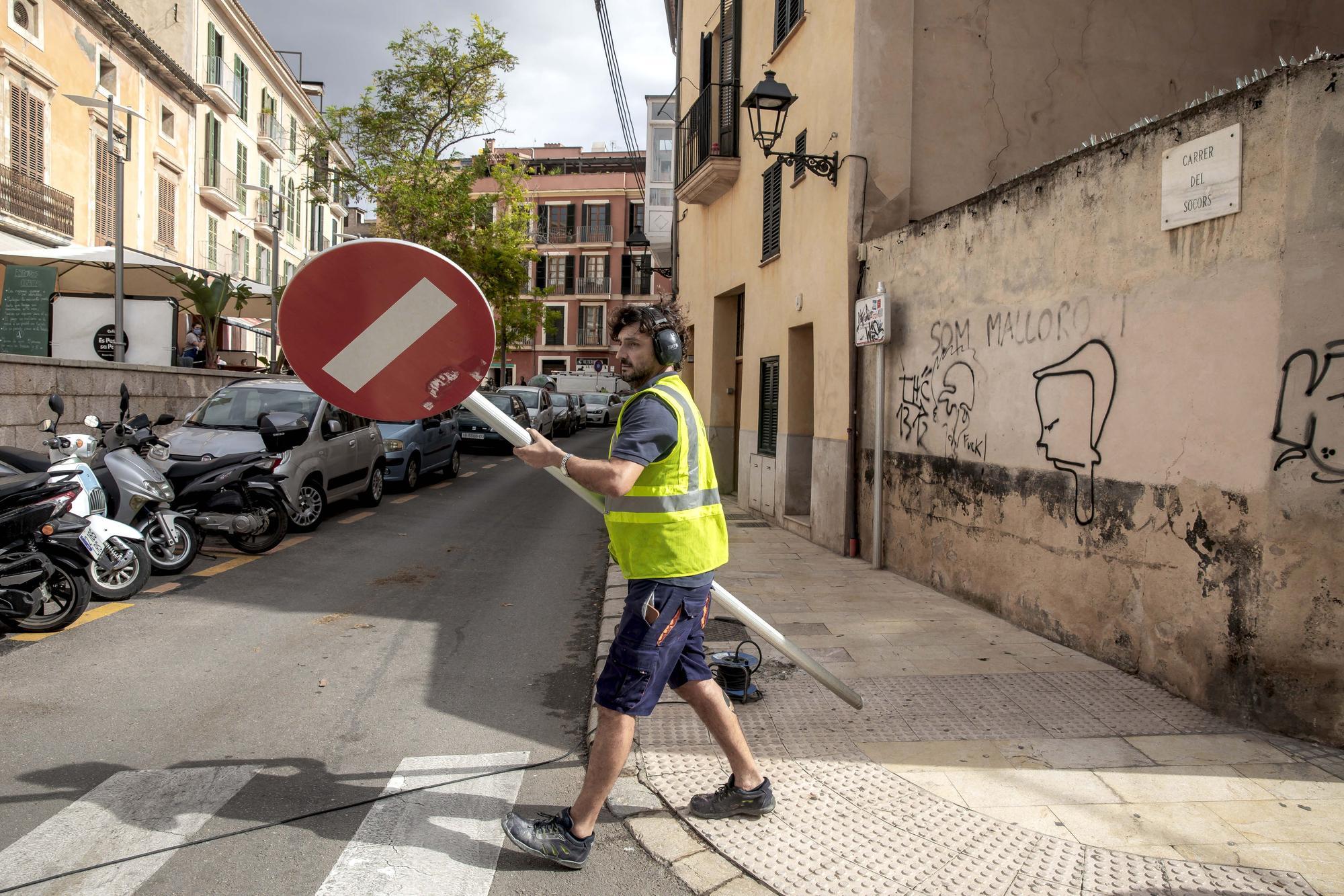Cambian la circulación en Socors para la senda peatonal de El Temple