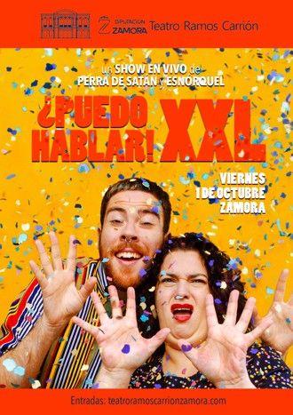 Esnórquel (Enrique Aparicio) y Perra de Satán (Beatriz Cepeda). Cartel promocional de '¿PUEDO HABLAR! XXL'.