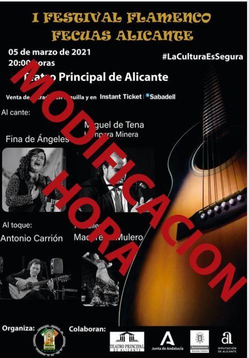El cartel del festival flamenco, que se adelanta a las 19 horas del 5 de marzo