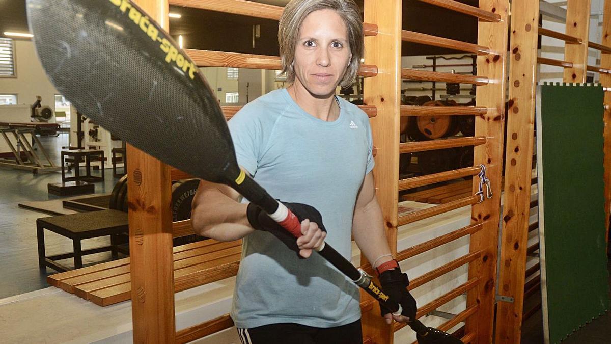 La palista Teresa Portela, durante un entrenamiento en el CGTD. | // RAFA VÁZQUEZ