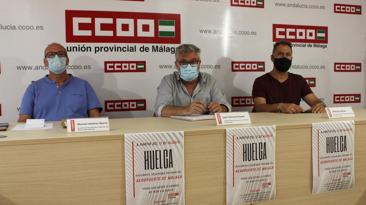 Rueda de prensa de CCOO sobre huelga en el servicio de vigilancia del aeropuerto de Málaga