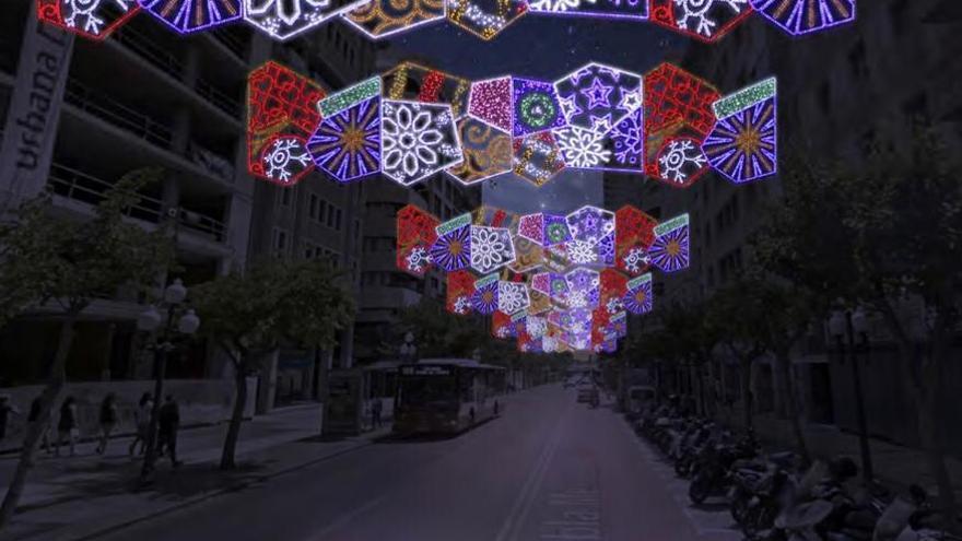 Alicante adelanta la instalación de las luces de Navidad para evitar el fiasco del pasado año