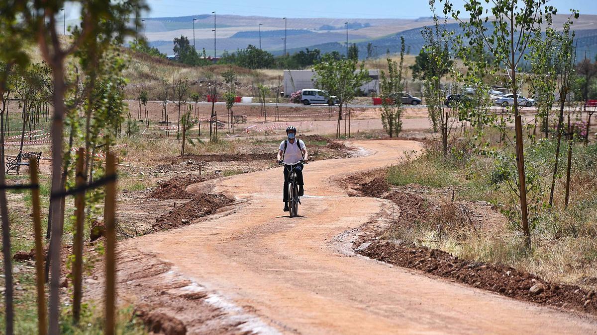 Un ciclista, en el parque de Levante.