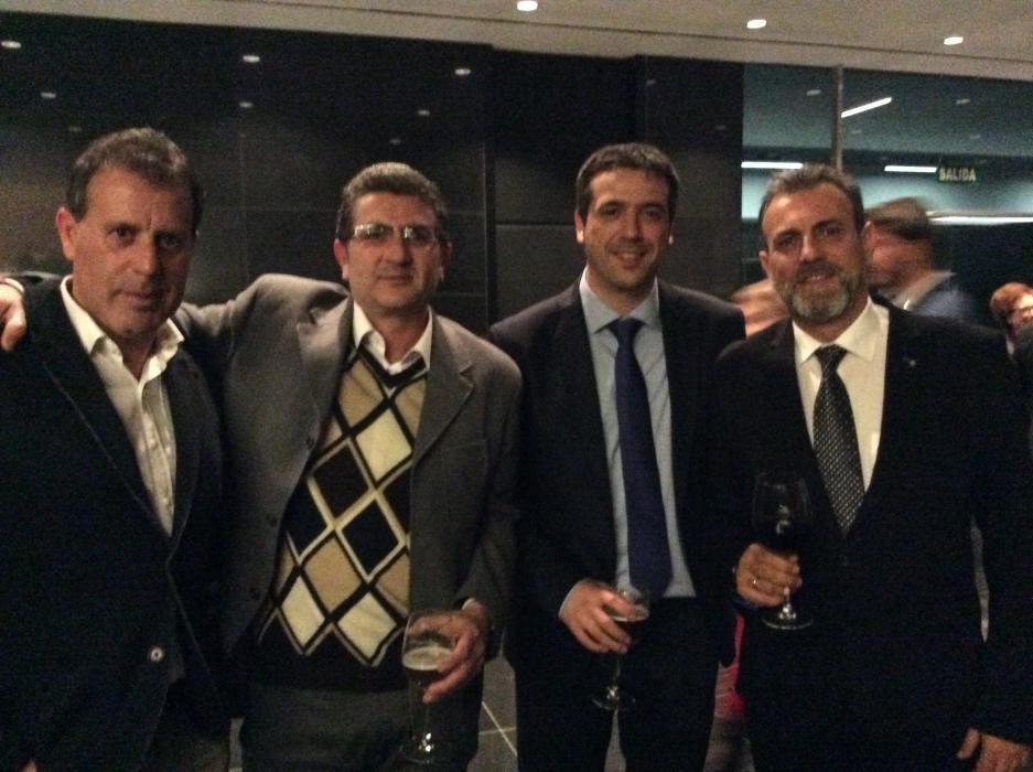 Luis Damián Martínez; Bernat Sirvent, periodista de La Verdad; Juan Valdés, delegado de comunicación del Banco Sabadell, y el jefe de Provincia de Información, Paco Bernabé
