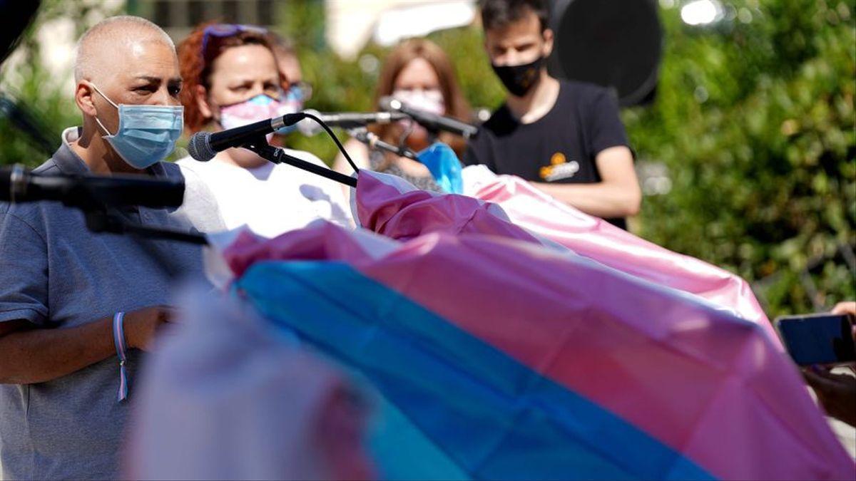 La Federación Estatal de Lesbianas, Gais, Trans y Bisexuales (FELGTB), la Fundación Triángulo y Chrysallis, Asociación de Familias de Menores Trans, en rueda de prensa.
