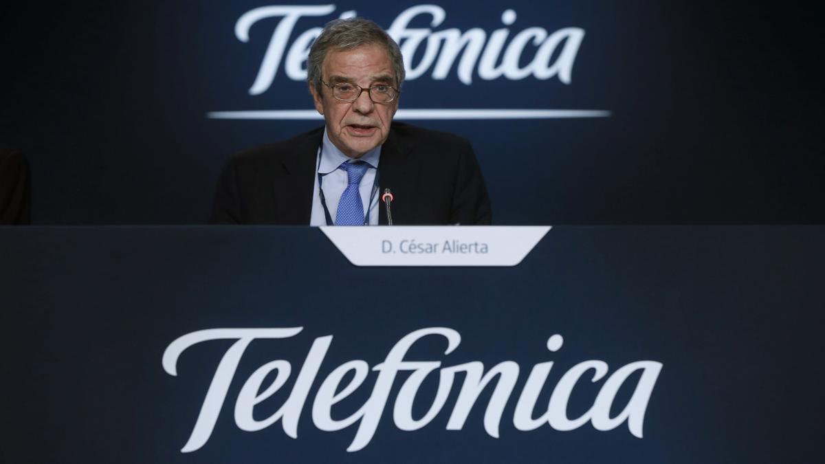 César Alierta, durante un acto público cuando era presidente de Telefónica.