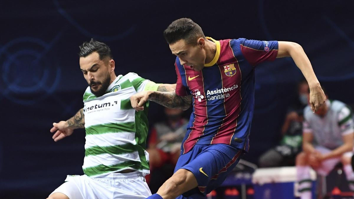 Una acción del Barça - Sporting.
