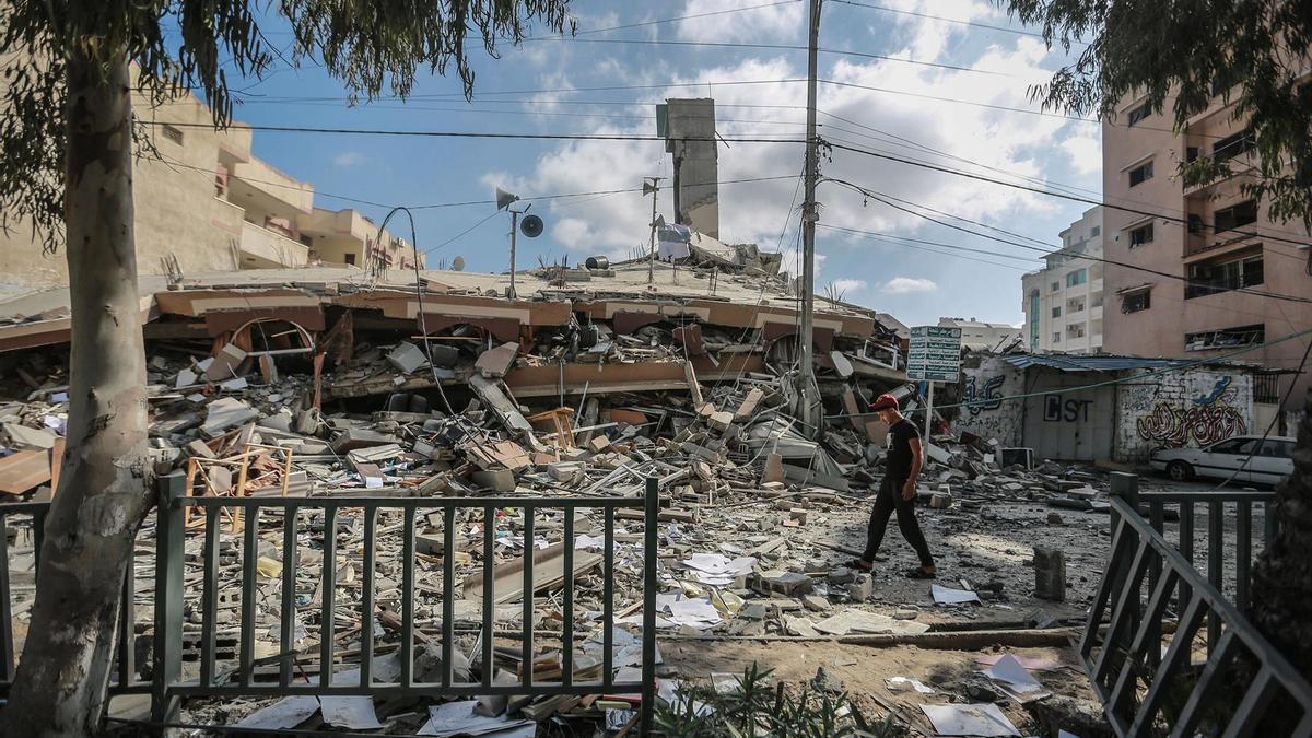 Edificio destruido en la Franja de Gaza por los bombardeos de Israel.