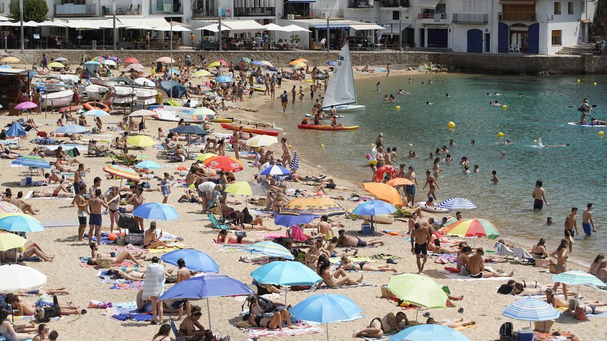 La platja de Tamariu amb banyistes, una imatge que es pot repetir amb aquestes temperatures