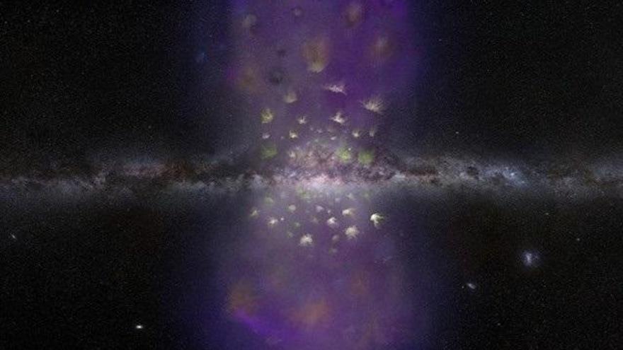"""Descubren un """"éxodo"""" de un enjambre de nubes de hidrógeno al espacio intergaláctico"""