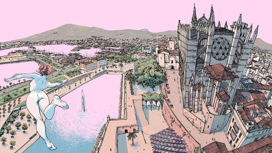 Karmen fliegt über die Dächer von Palma de Mallorca