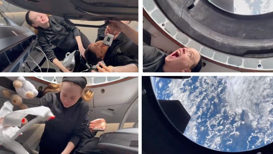 El emocionante momento en que la tripulación del Inspiration4 abre la cúpula y ve la Tierra desde el espacio