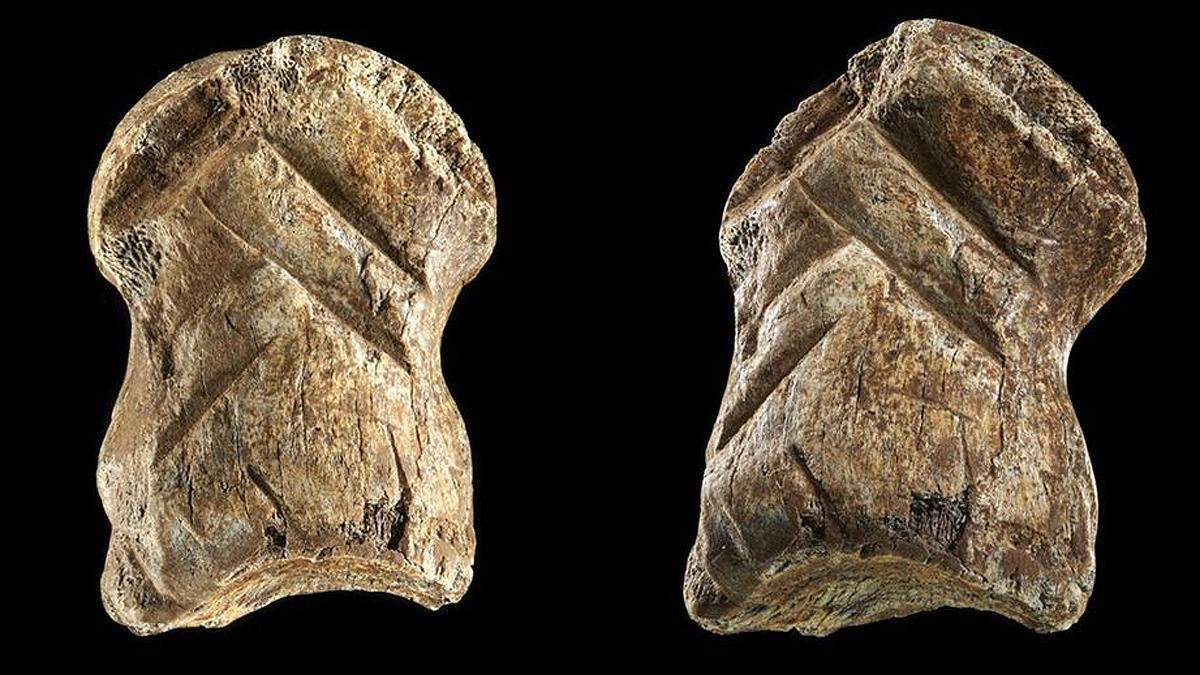 El hueso tallado hallado en Alemania.