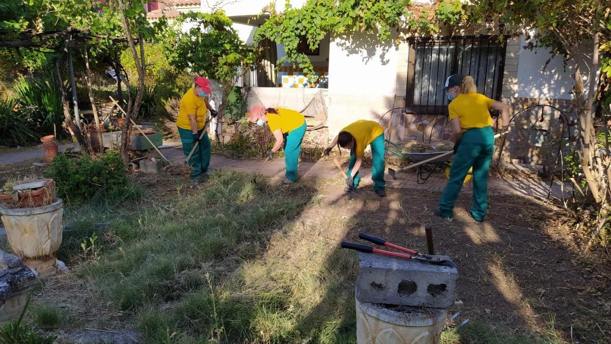 Alumnos de un curso de actividades de jardinería impartido por Cáritas en la provincia