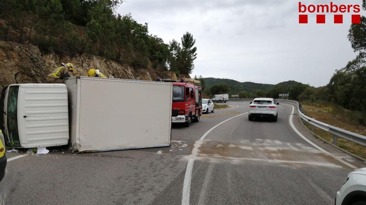 El camió accidentat a Llagostera