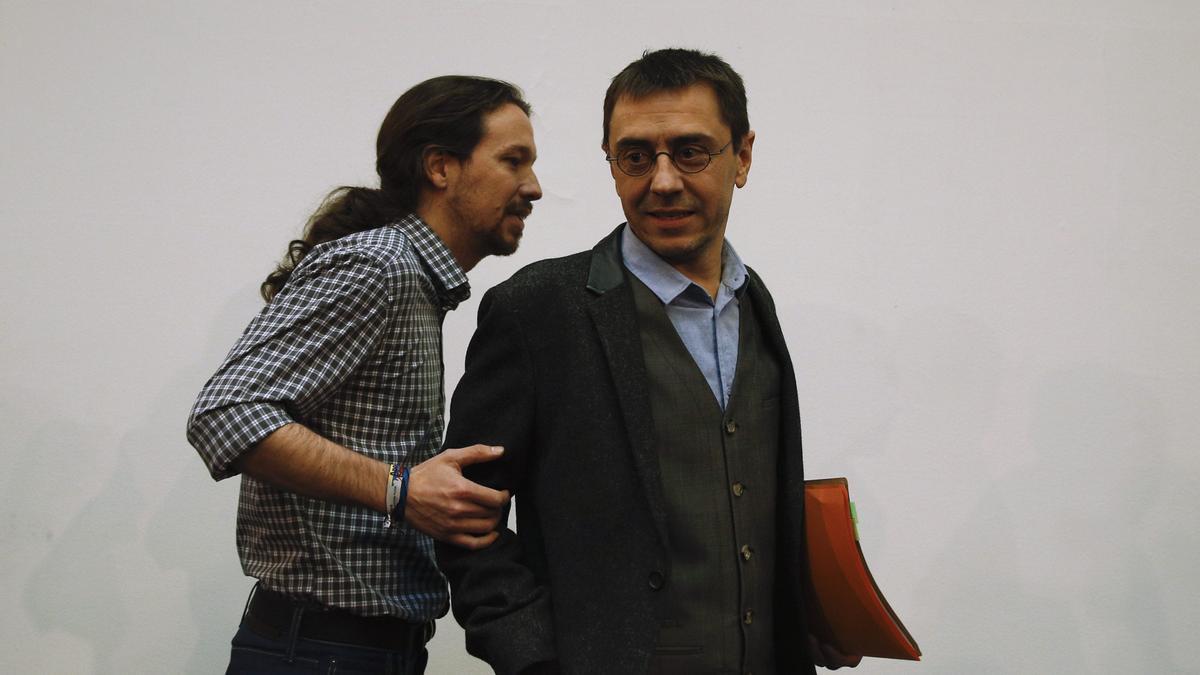 Pablo Iglesias y Juan Carlos Monedero, en una imagen de archivo.