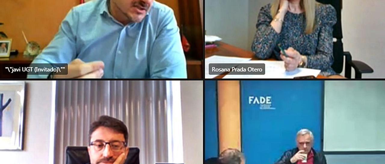 Javier Fernández Lanero, Rosana Prada, Enrique Fernández y Guillermo Ulacia, ayer, durante la videoconferencia de la Mesa por la Industria.