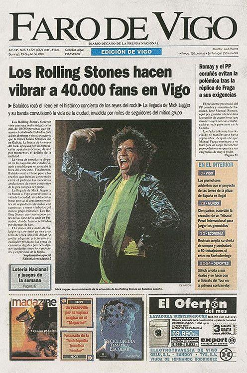 Portada del 19 de julio de 1998, día después del concierto de los Rolling en Balaídos.