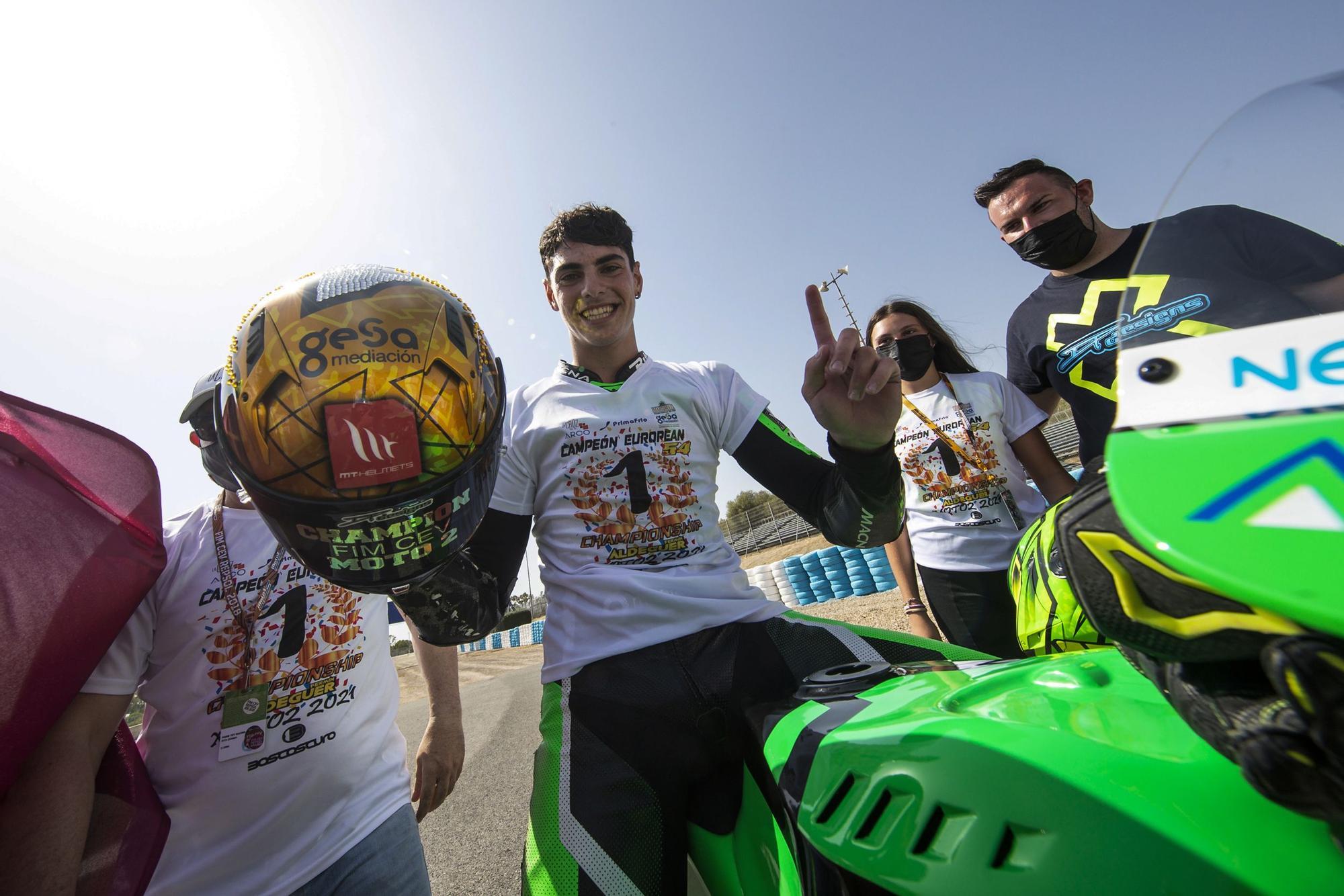 Fermín Aldeguer, campeón de Europa de Moto2 de la mano de Héctor Faubel