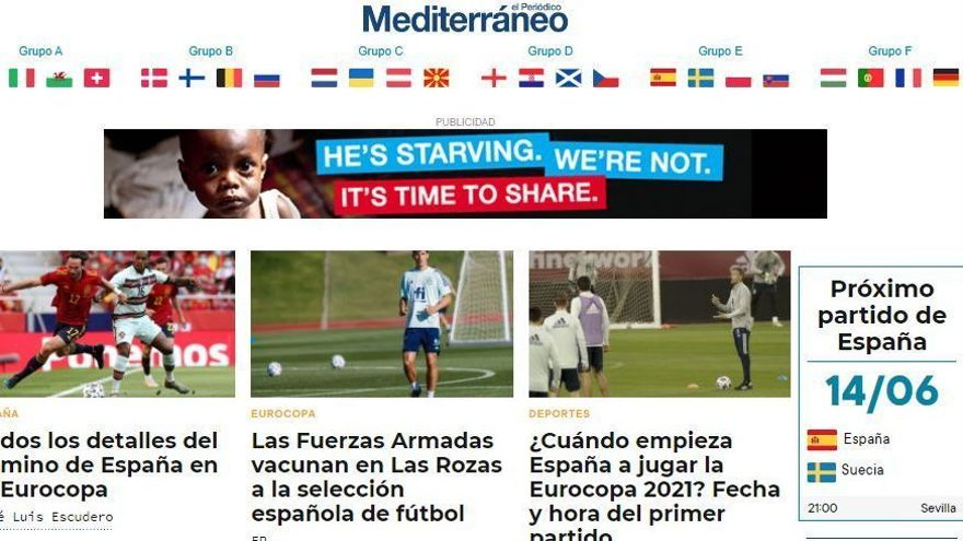 La mejor información e la Eurocopa, en la web de 'Mediterráneo'