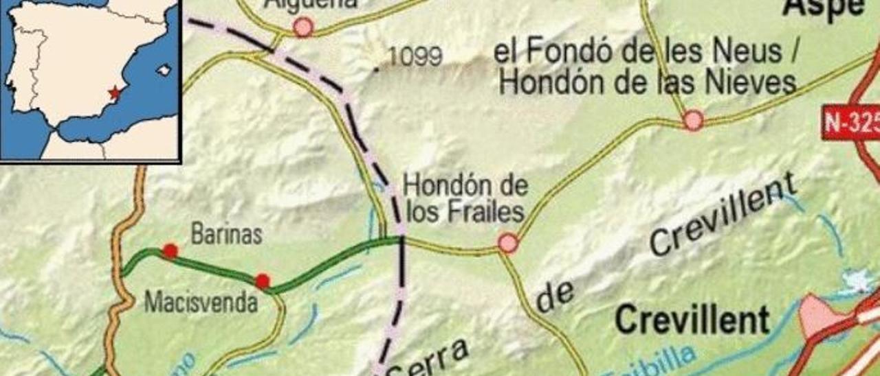 El gráfico con la ubicación exacta del movimiento sísmico registrado el miércoles en Hondón de los Frailes.