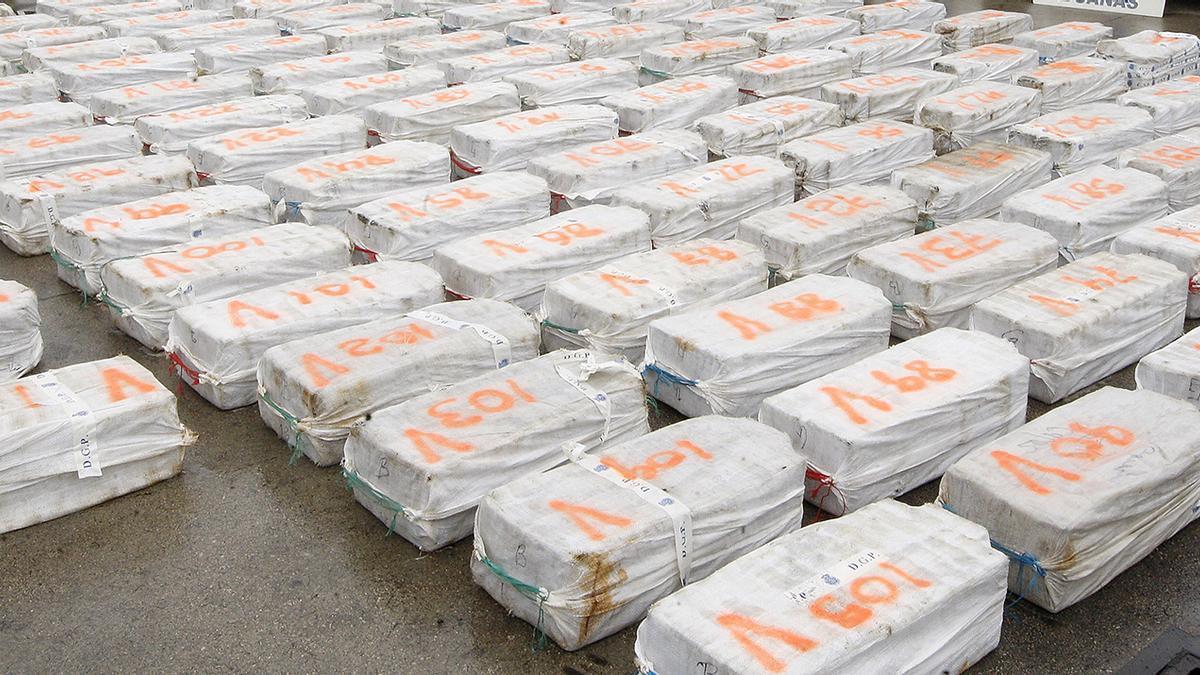 Fardos de cocaína descargados en el Puerto de Vigo, en una operación anterior
